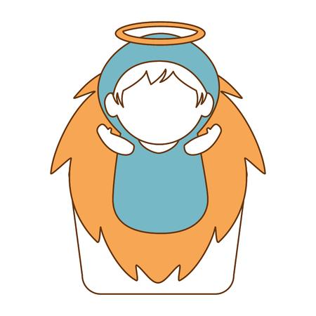 A cute jesus baby in cradle vector illustration design