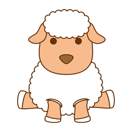 A cute sheep character icon vector illustration design Illustration