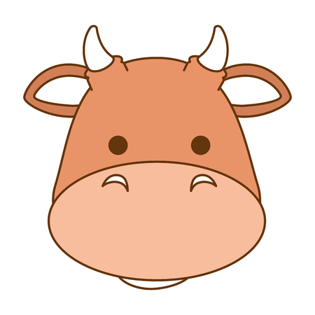 A cute ox character icon vector illustration design