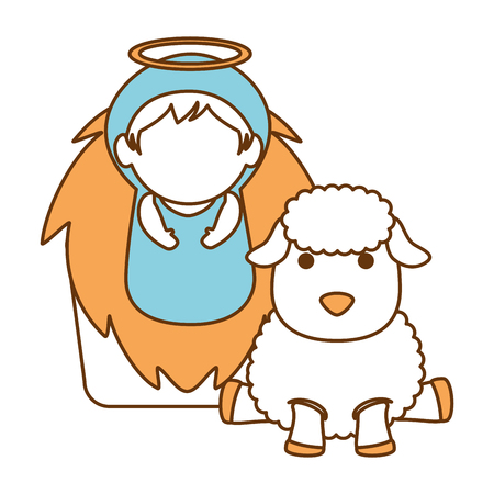 A cute jesus baby in cradle with sheeps vector illustration design