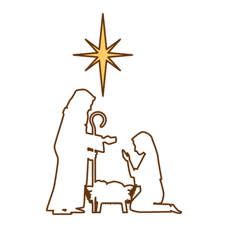A holy family silhouette christmas characters vector illustration design Illustration