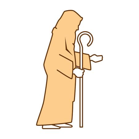 A cute saint joseph silhouette character vector illustration design Illustration
