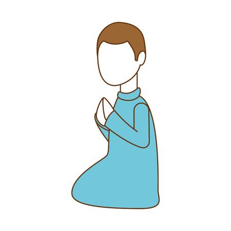 Faceless person praying avatar character illustration design.