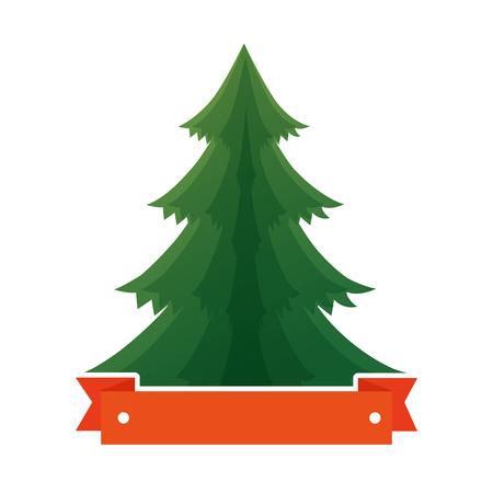 Pine tree plant with ribbon illustration design.