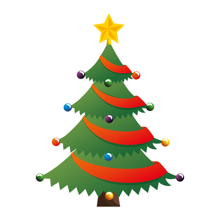 Merry Christmas tree with star illustration design.