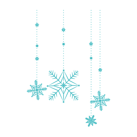 Snow flakes hanging isolated icon vector illustration design