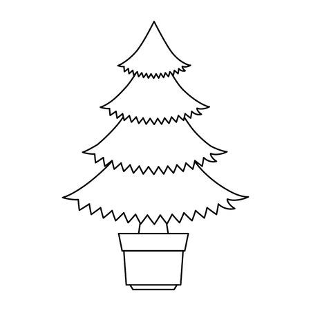 Pine tree plant in pot illustration design.