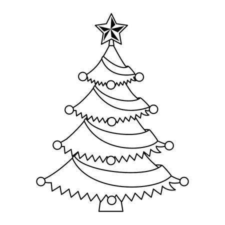 メリークリスマス松の木イラストデザイン。