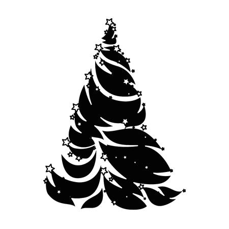 Merry Christmas pine tree illustration design.
