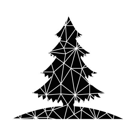 Merry christmas ice pine tree vector illustration design Illusztráció