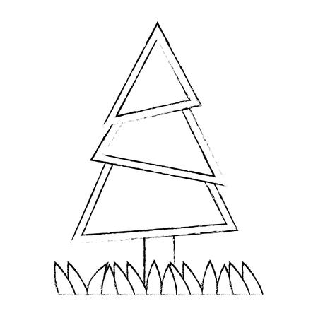 pine tree plant with grass vector illustration design Stock fotó - 92200617