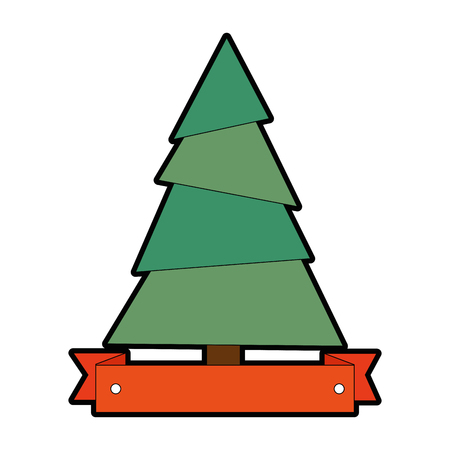 Pine tree plant with ribbon vector illustration design