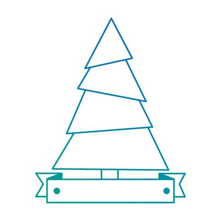pine tree plant with ribbon vector illustration design Stock fotó - 92200669