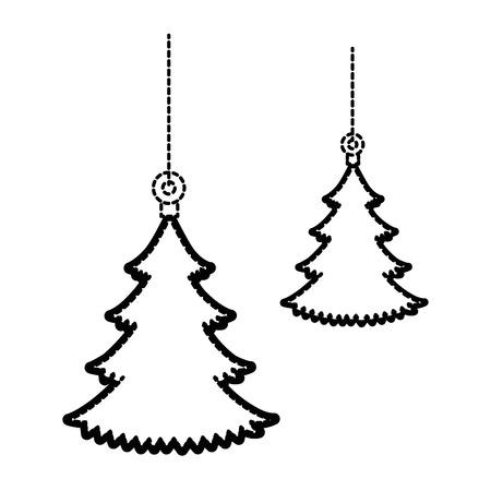 Pine tree hanging icon vector illustration design Illustration