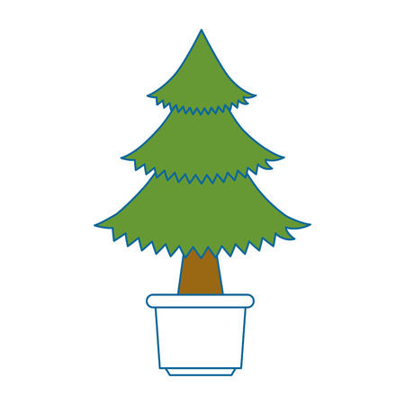 pine tree plant in pot vector illustration design