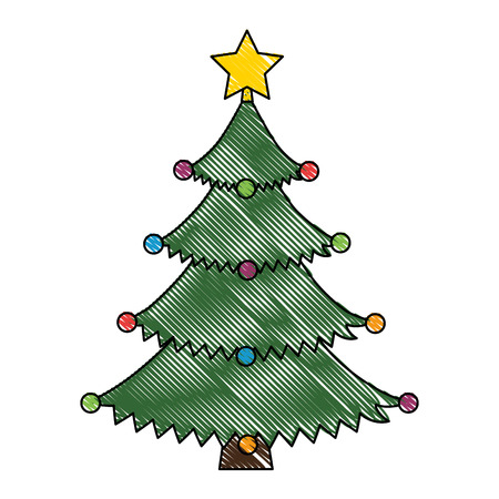 merry christmas tree with star vector illustration design