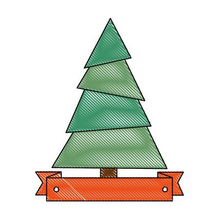 pine tree plant with ribbon vector illustration design Illustration