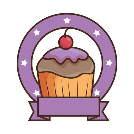 Sweet cupcake emblem with ribbon vector illustration design