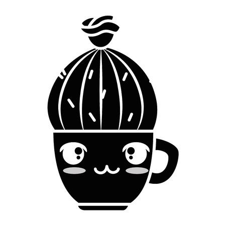 pot with desert plant kawaii character vector illustration design