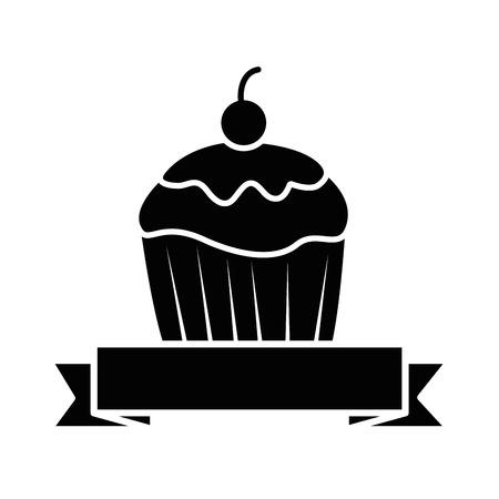 Sweet cupcake emblem with ribbon illustration design. Illustration