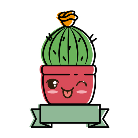 Pot with desert plant cartoon character.