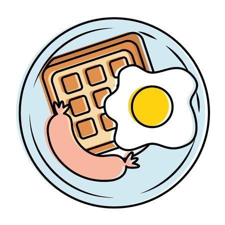 Fried egg and sausage illustration design.
