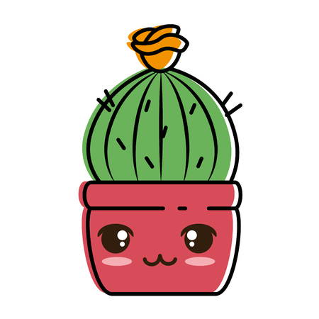 Pot with desert plant cartoon character illustration design.