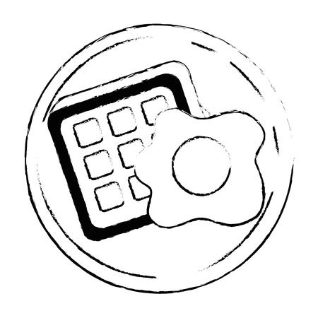 Gebakken ei en brood pictogram.