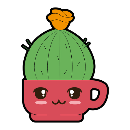 Pot with desert plant cute character illustration design. Illustration