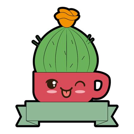 Pot with desert plant cute character illustration design. Illustration