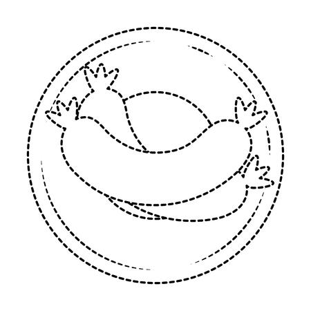 Prato com deliciosas salsichas isolado ícone vector ilustração design Foto de archivo - 92228315