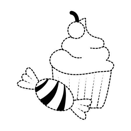 sweet cupcake with candy vector illustration design