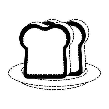 Breakfast dish with bread slices isolated icon vector illustration design