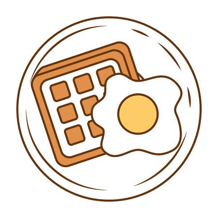 gebraden ei en brood vectorillustratieontwerp