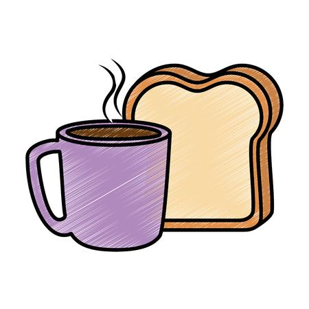 Köstliche Kaffeetasse mit Scheibe Brot Vektor-Illustration Design Standard-Bild - 92228565