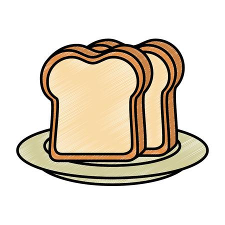 Frühstücksteller mit Brotscheiben lokalisierte Ikonenvektor-Illustrationsdesign Standard-Bild - 92228676