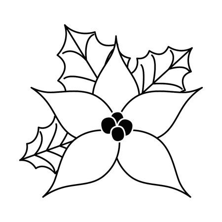 Progettazione decorativa dell'illustrazione di vettore dell'icona del fiore di Natale Archivio Fotografico - 92229023