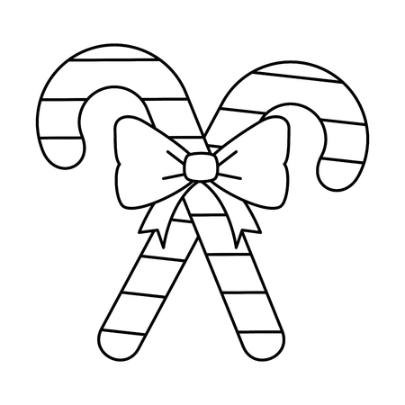 christmas cane decorative icon vector illustration design