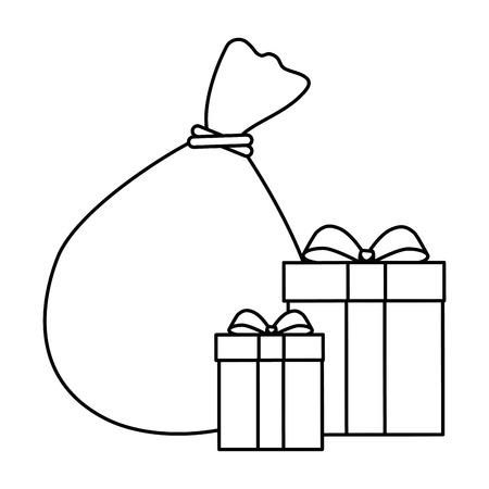 santa claus bag with giftboxes vector illustration design