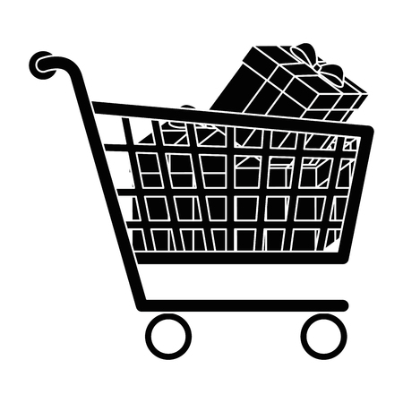 Shopping cart with gifts vector illustration design Illustration