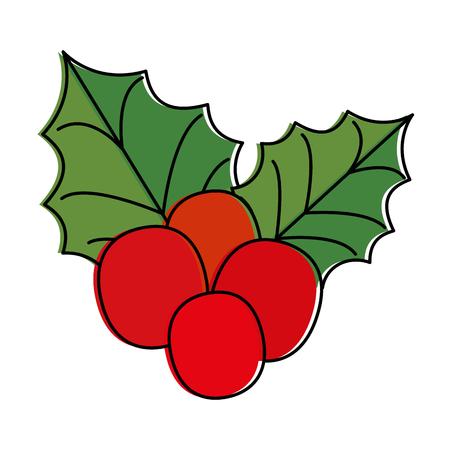 christmas leafs decorative icon vector illustration design