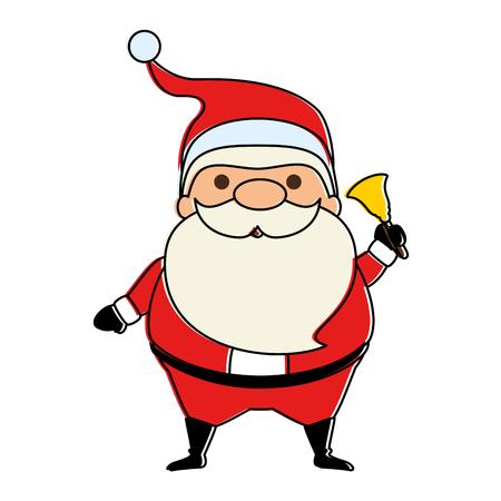 cute santa claus with bell kawaii character vector illustration design