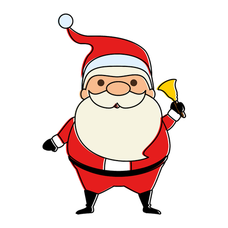 cute santa claus with bell kawaii character vector illustration design