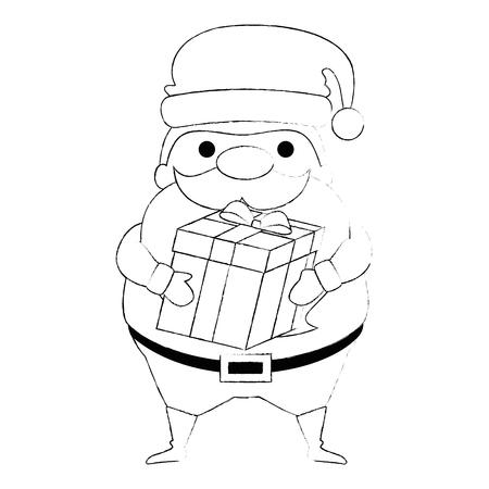 Cute Santa Claus with gift kawaii character vector illustration design Illustration