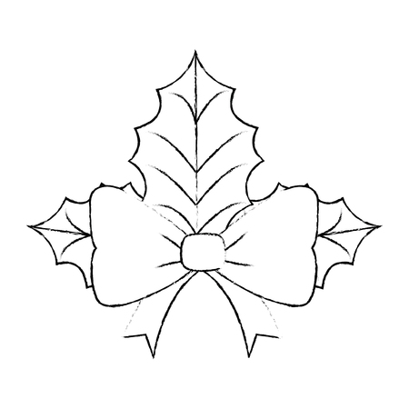 christmas leafs decorative icon vector illustration design