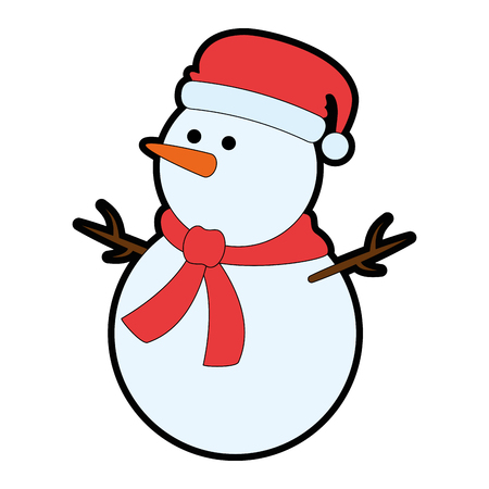 christmas snowman kawaii character vector illustration design Illustration