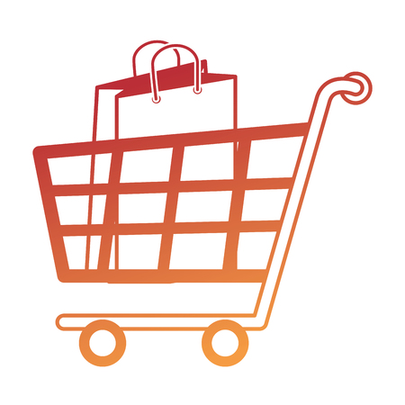 Shopping cart with bags vector illustration design. Illustration