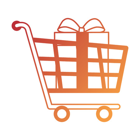 Shopping cart with gifts vector illustration design.
