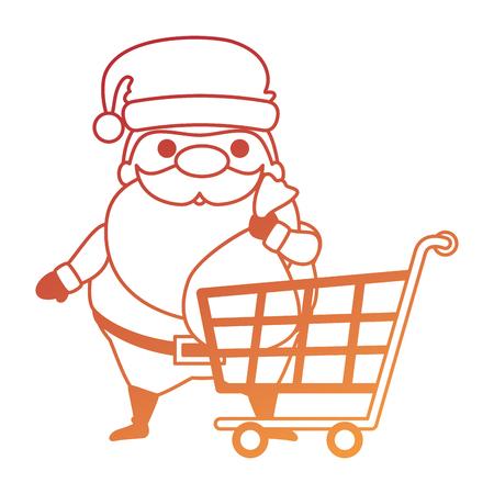 Cute Santa Claus with shopping cart character vector illustration design. Illustration