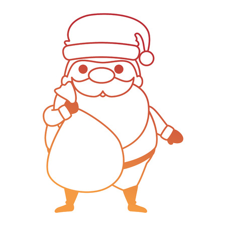 Cute Santa Claus with bag character vector illustration design. Illustration